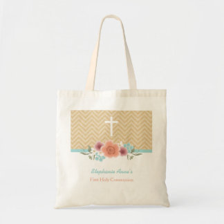 Communion Floral Swag in Gold and Aqua Budget Tote Bag