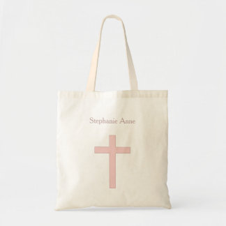 Communion Pastel Pink Cross Budget Tote Bag
