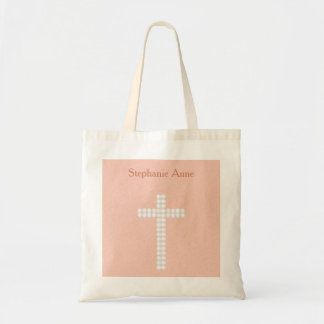 Communion Peach Vines and Stripes Budget Tote Bag