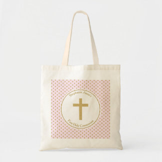 Communion Pink with Gold Polka Dots Budget Tote Bag