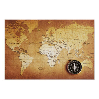 Compass and Map Poster Paper (Matte)