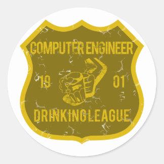 Computer Engineer Drinking League Round Sticker