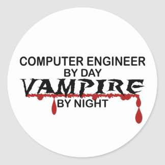 Computer Engineer Vampire by Night Round Sticker