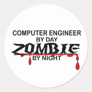 Computer Engineer Zombie Round Sticker