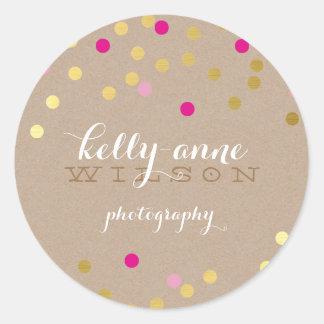 CONFETTI GLAMOROUS cute gold foil bold pink kraft Round Sticker