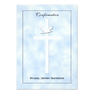 Confirmation Invite Dove and Cross on Blue Invite