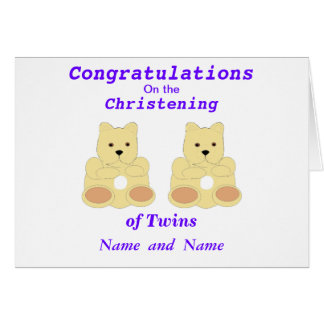 Congratulations Christening Twins add names Greeting Card