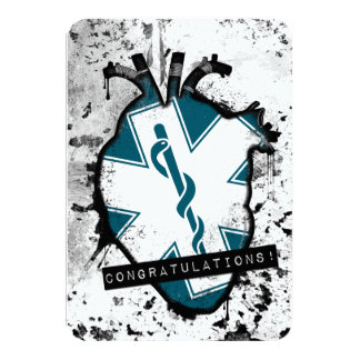 congratulations emergency medical services worker 9 cm x 13 cm invitation card