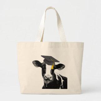Congratulations Graduation Funny Cow in Cap Jumbo Tote Bag