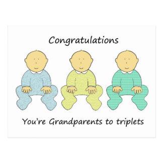 Congratulations, Grandparents to triplets. Postcard