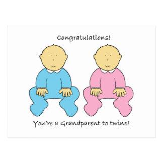 Congratulations, you're a Grandparent to twins. Postcard