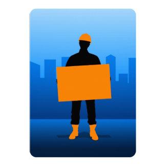 Construction Worker 13 Cm X 18 Cm Invitation Card