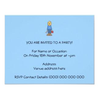 Construction Worker Lion. 11 Cm X 14 Cm Invitation Card