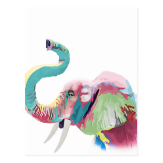 Cool awesome trendy colorful vibrant elephant postcard