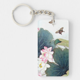 cool chinese lotus leaf pink flower butterfly art Double-Sided rectangular acrylic key ring