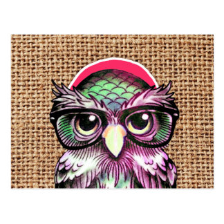 Cool  Colorful Tattoo Wise Owl With Funny Glasses Postcard