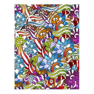 Cool colourful flowers leaves swirls wheels dots postcard