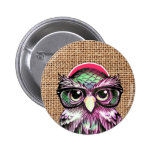 Cool  Colourful Tattoo Wise Owl With Funny Glasses 6 Cm Round Badge