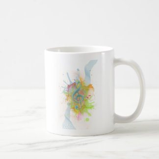 Cool colourful watercolour splatters music notes basic white mug