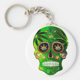 Cool Day of the Dead Sugar Skull Weed Basic Round Button Key Ring