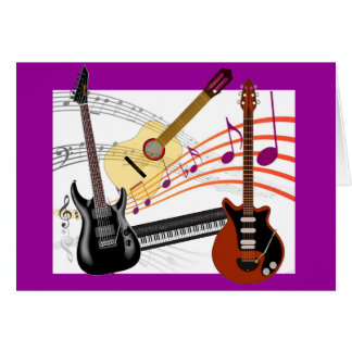 Cool Guitars Keyboard and Music Notes Birthday Greeting Card
