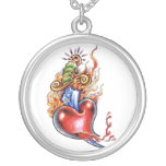 Cool Heart and Dagger in Flames tattoo Round Pendant Necklace