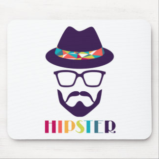 Cool Hipster colourful hat glasses Mouse Pad