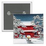 Cool japanese winter temple shrine kyoto scenery 15 cm square badge