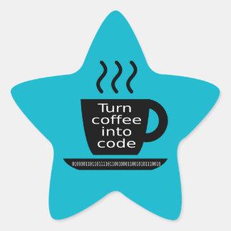 Cool Programmer Geek Coffee Addiction Star Sticker