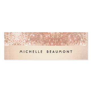 Cool Retro Fashion and Beauty Faux Copper Sequin Pack Of Skinny Business Cards