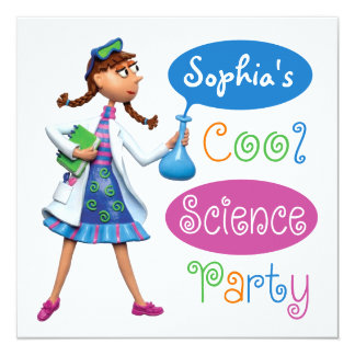 Cool Science Birthday Party for Girls 13 Cm X 13 Cm Square Invitation Card