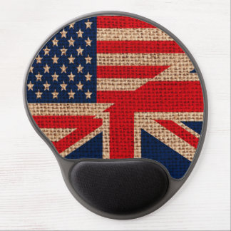 Cool usa union jack flags burlap texture effects gel mouse pad