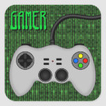 Cool Video Game Controller Vector in Grey Square Sticker