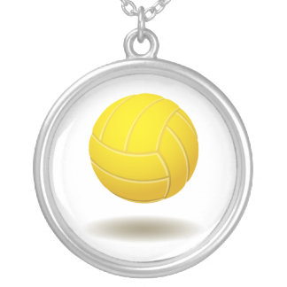Cool Volleyball  Emblem 2 Round Pendant Necklace