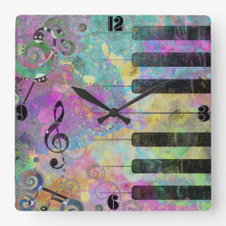 Cool watercolours splatters colourful piano clock