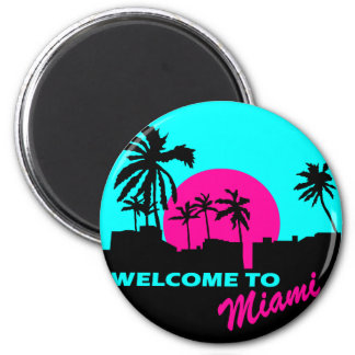 Cool Welcome to Miami design 6 Cm Round Magnet