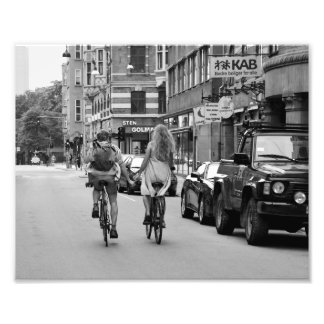 Copenhagen Lovers on Bicycles, Black and White. Photograph