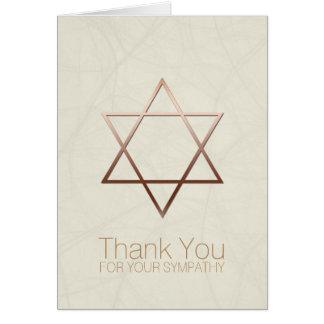 Copper Star of David Jewish Sympathy Thank You Note Card