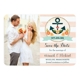 CORAL AND NAVY BLUE NAUTICAL ANCHOR SAVE THE DATE 13 CM X 18 CM INVITATION CARD