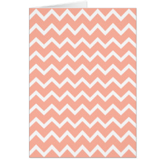 Coral and White Zig Zag Pattern. Greeting Card