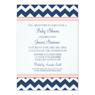 Coral Blue Chevron Custom Baby Shower Invitations