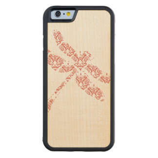 Coral Damask Dragonfly Wedding Maple iPhone 6 Bumper