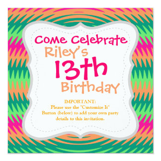 Coral Hot Pink Green Saw Blade Ripples Waves Patte 13 Cm X 13 Cm Square Invitation Card