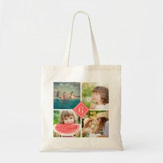 Coral Monogram Instagram Photo Collage Budget Tote Bag