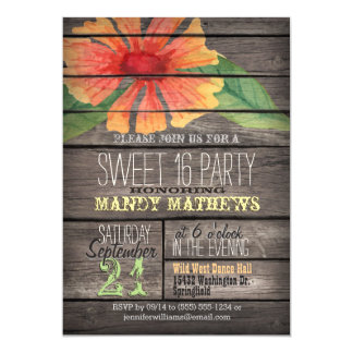 Coral Orange Flower; Rustic Wood Sweet 16 Party 13 Cm X 18 Cm Invitation Card