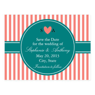 Coral Pink and White Stripes, Teal Save the Date Postcard