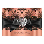 Coral Pink Diamond Heart Damask Birthday Party 13 Cm X 18 Cm Invitation Card