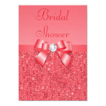 Coral Pink Printed Sequins & Diamond Bridal Shower 13 Cm X 18 Cm Invitation Card