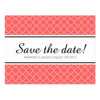 Coral pink quatrefoil print save the date postcard