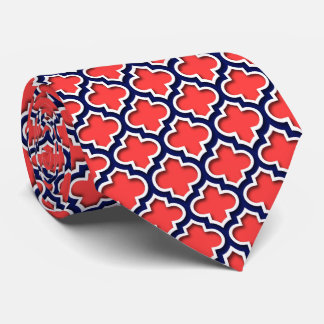 Coral Red, Navy White Moroccan Quatrefoil #5DS Tie